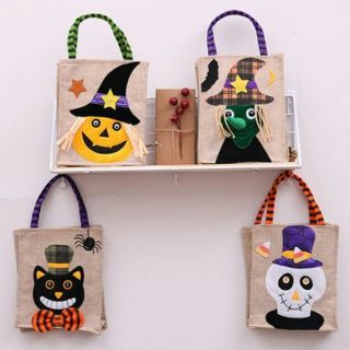 Halloween Linen Candy Bag Tote Party Favor Fabric Packaging Kids Gift Bags Pouch