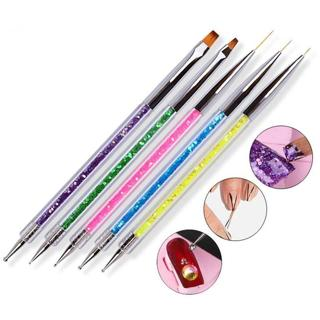 5pcs/set Nail Art Two Head Brush Pen Sequins Acrylic Handle UV Gel Polish Painting Drawing Line Fl