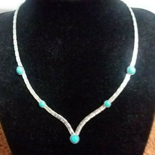 Sarah Coventry Silver & Turquoise V Drop Necklace!! Lovely~