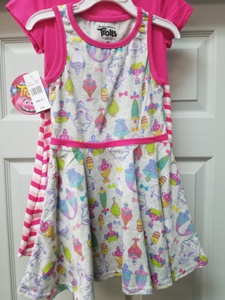 New With Tags!! 2 Girls Trolls Dresses Size 5T 60% cotton  40% polyester