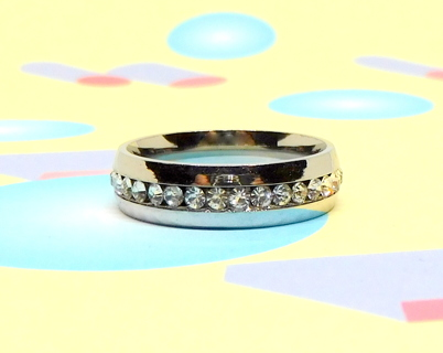 Stainless Steel Ring w/CZ Size 9