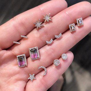 14 Pcs Women Fashion Gold Geometric Stars Moon Crystal Stud Earrings Set Bohemian Retro Party
