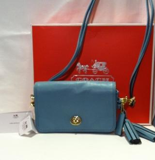 $198 NWT COACH Leather Legacy PENNY CLUTCH/XBODY Purse BAG 19914 Robins  BLUE-BID
