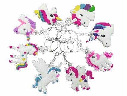 NEW 40 PCS Pack Rainbow Unicorn Keychains Key Ring Decoration Birthday Party Favor Supplies