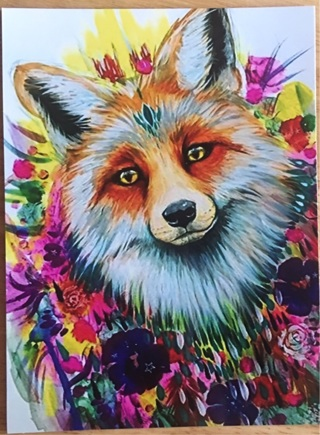 """CUTE FOX AND FLOWERS - 4 x 5"""" MAGNET"""