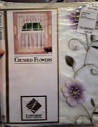 Sheer flower curtains with 3-D Pansy Flowers and embroidery
