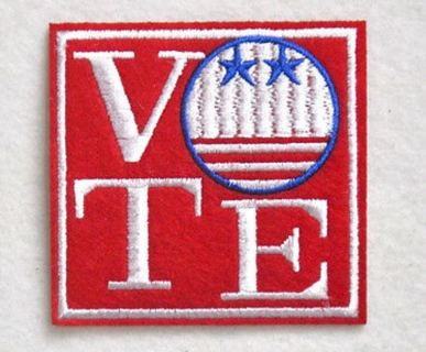 1 NEW VOTE IRON ON PATCH POLITICAL DEMOCRACY CLOTHING ACCESSORY EMBROIDERED BADGE ADHESIVE