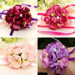 2PCs Delicate Wrist Corsage Bracelet Bridesmaid Sisters Hand Flowers Wedding Party