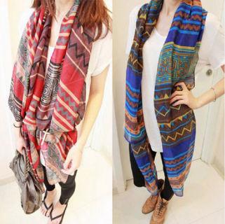 Oversized Scarf Wrap Shawl Plaid Cozy Checked Pashmina Women Cotton Voile Print