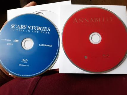 2 Horror movies BLU-RAYS disc only Annabelle comes home and Scary stories to tell in the dark