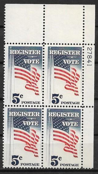 1964 USA Sc1249 Register & Vote MNH PB4