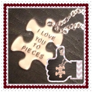 Silver Necklace I Love You puzzle pieces
