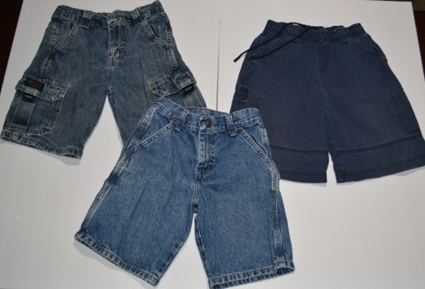 3 Pair Boys Wrangler Blue Jean Shorts & More!  Size 7 - PreOwned Summer Clothes