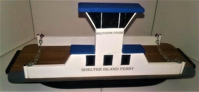 """Rare handmade wooden Shelter Island Ferry """"Southern Cross"""" - 12"""" X 4"""" X 5 1/2"""" - weight 12 oz."""