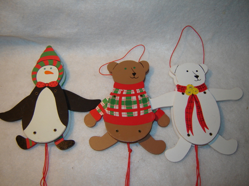 Free 3 pull string wooden christmas ornaments christmas auctions for free stuff - String ornaments christmas ...