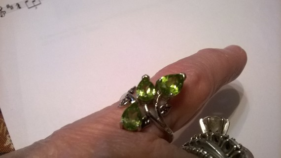 Sterling Silver Peridot Leaf design Ring