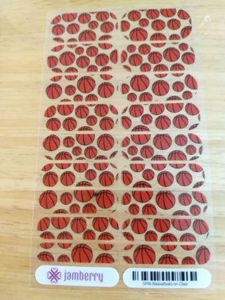 Basketballs on Clear - Jamberry Nail Wrap Full Sheet