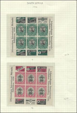 1936 South Africa stampsheets (2) MNH/VF-XF, Scott 72-3, Est CV $25 F