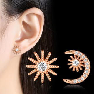 Crystal Zircon Gold Silver Star Moon Interstellar Stud Earrings