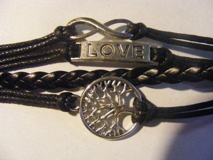 New Life Tree Love Infinity Handmade Knit Black Leather Charms Bracelet