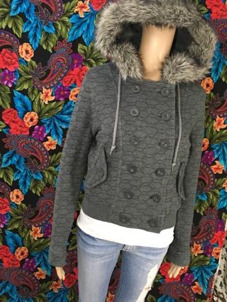 WOMEN'S Forever Twenty One PEA COAT Jacket Coat faux fur hoodie