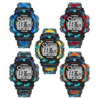 NEW Waterproof Kids Children Boys Digital LED Sports Watch Alarm Date Gift Watch