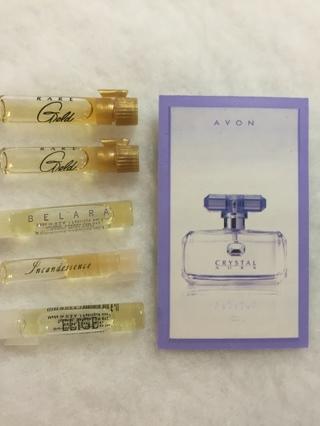 Free: avon samples ~ random lot of 5~ perfume, cologne, skincare.