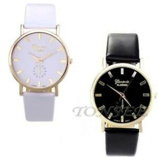 Women Fashion Geneva Roman Leather Band Casual Analog Quartz Wrist Watches