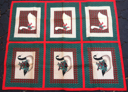 Hand made and two sided Quilt with Christmas colors & ducks and Geese
