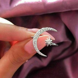 SUPPER CUTE Moon & Star Ring Womens Wedding Jewelry Fashion Adjustable Crescent