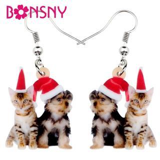 Bonsny Acrylic Christmas Sweet Yorkshire Dog Cat Kitten Earrings Drop Dangle Cute Pets Women Girl