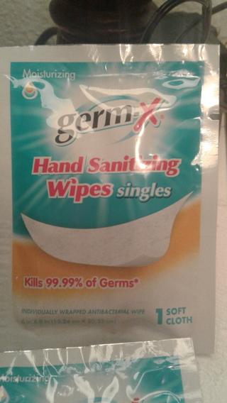 6 single use,Germ-X hand sanitizer wipes