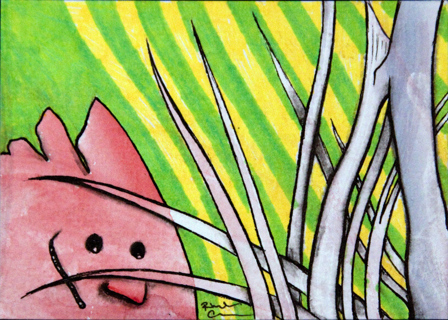 ATC ACEO ORIGINAL ART, Creature Card Day 119 by Rhonda Chase OOAK