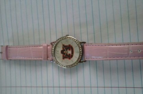 § Auburn watch encrusted with c/z diamonds with pink band.§