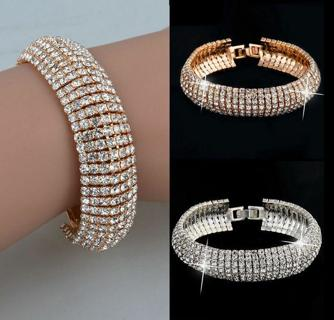Women Fashion Charm Crystal Rhinestone glitter Cuff Bracelet Bangle Jewelry Gift