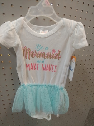 "NWT! Swiggles - Baby Girls Decorated Onesie ""BE A MERMAID AND MAKE WAVES"""" Size: 6-9mths 100% COTTON"