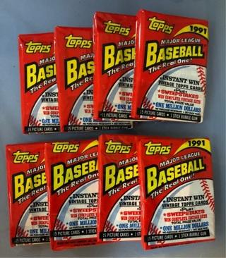 8 unopened Packs 1991 Topps Major League Baseball cards