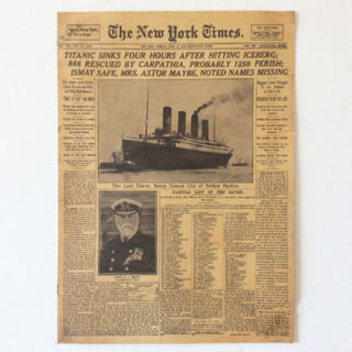 New York Times RMS Titanic Poster Shipwreck Old Newspapers Kraft Paper