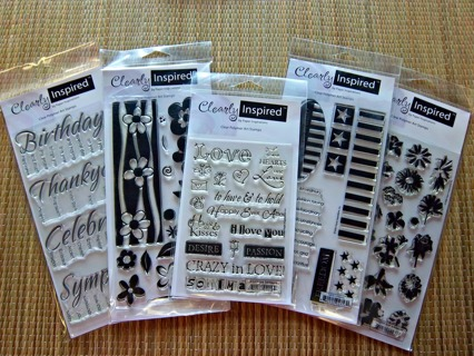 NEW Lot/5 CLEARLY INSPIRED Clear Polymer Art Stamps Themes: Flowers, Love, Patriotic & More