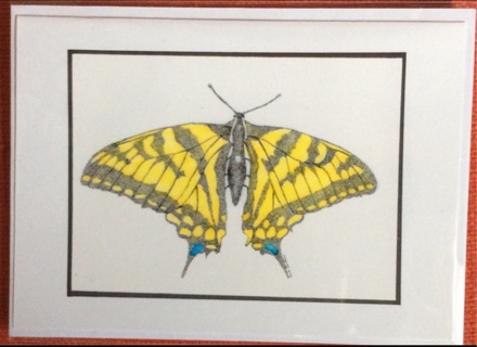 """BUTTERFLY - 5 x 7"""" art card by artist Nina Struthers - GIN ONLY"""