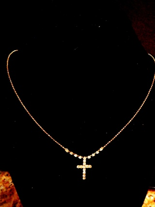 Vintage Gold Necklace Cross Necklace