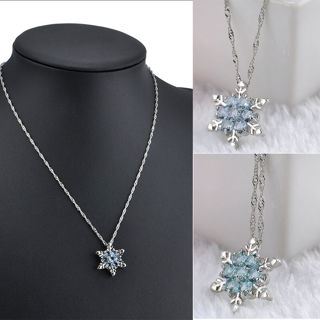 Women Beautiful Blue Crystal Snowflake Silver Plated Charm Necklace