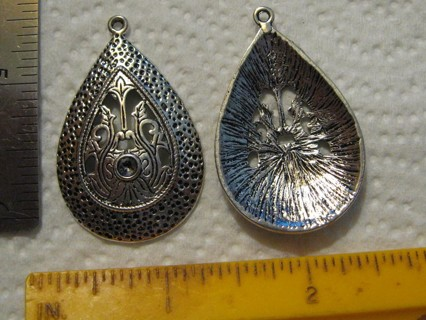 2 Large Pewter Fancy Pendant ~ makes beautiful necklace!