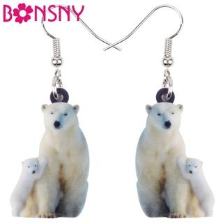 Bonsny Acrylic North Pole Family Polar Bear Earrings Drop Dangle Big Long Arctic Animal Jewelry For