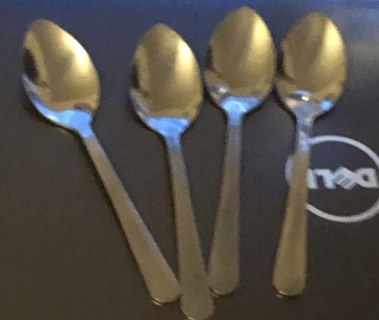 "Four Brand New 5"" Long, Silver Tea Spoons. Free To Ship!"