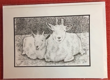 "GRINNING GOATS - 5 x 7"" art card by artist Nina Struthers - GIN ONLY"