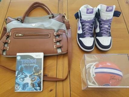 Prada Purse, Nike Dunk Sneakers, Tron Nintendo Wii Game, Autographed Gators Helmet. You Choose!