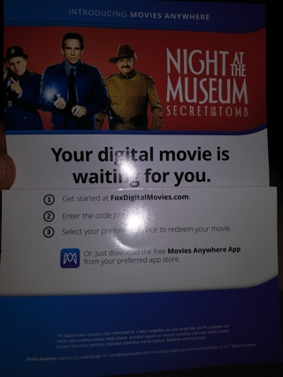 Digital code- night at the museum: secret of the tomb