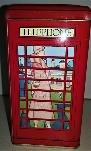 """Tin London Red Telephone Booth Bank made in GB - 5 1/4"""" X 3"""" - VG pre-owned condition."""