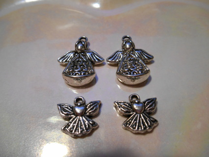 4 Silver Angel Charms - New